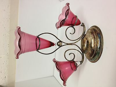 Genuine Antique 3 Ruby Glass Vases With Silver Stand. Great Collectable