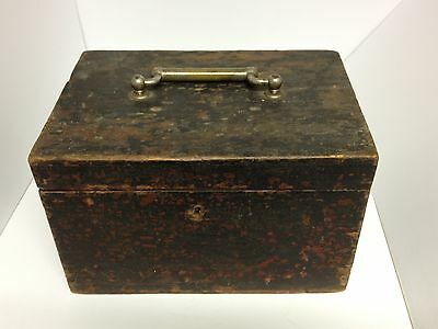 Genuine Antique Georgian Wooden Chest With Original Key.great Unique Collectable