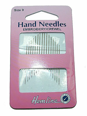 Hemline Embroidery / Crewel Hand Sewing Needles Different Sizes Pack Of 16