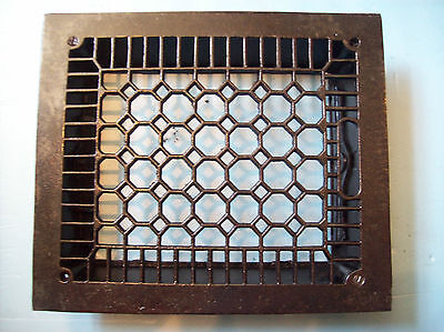 "No Fins Simple honeycomb heating grate cast iron 10"" x 12"" insert (G 384)"