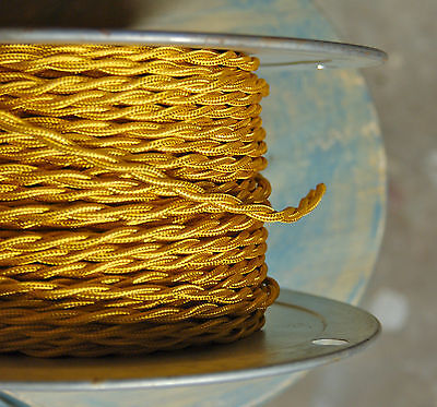 Gold Twisted Rayon Covered Wire, Vintage Style, Cloth Lamp Cord, Antique Lights