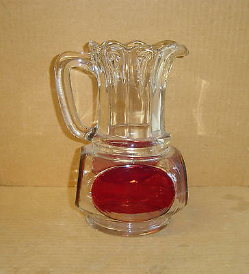 EAPG RUBY STAINED NAIL SQUARE PITCHER US GLASS 1892