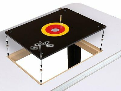 ROUTER TABLE INSERT PLATE W/ GUIDE PIN & SNAP RINGS, fits Porter Cable Bushings