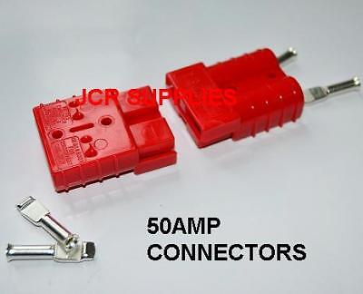 2X 50 Amp Red Heavy Duty Battery Connectors Used For Jump Leads Etc