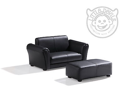 BLACK LAZYBONES KIDS TWIN SOFA Chair/Armchair/Sofa for Childrens in PU Leather