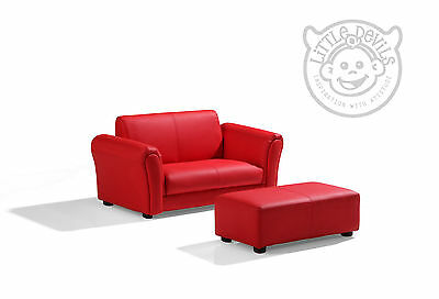 RED LAZYBONES KIDS TWIN SOFA Chair/Armchair/Sofa for Childrens in PU Leather