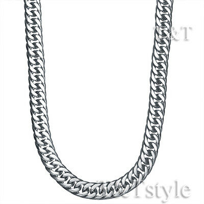 T&T 7mm 316L Stainless Steel Round Curb Chain Necklace Silver (C93)