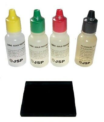 Gold Test Acid Tester Kit 10k 14k 18k & Platinum Testing Stone Detect Jewelry