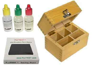 10k 14k 18k Gold JSP Acid Test Kit Testing Tester Stone Wood Storage Box Jewelry