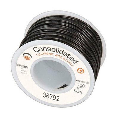 Jameco Valuepro #9313-0-R Wire Hook-up Solid 22 AWG Black 100 Feet