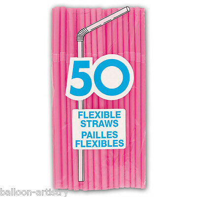 50 PINK Flexible Drinking Straws Kids Party Item