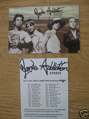 JANE'S ADDICTION PAIR (2) 2003 strays PRE-RELEASE PROMOTIONAL 2-SIDED POSTCARDS