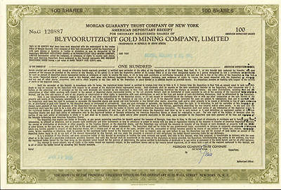 Blyvooruitzicht Gold Mining Company   South Africa mine stock certificate share