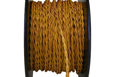 Gold Twisted Rayon Covered Wire, Antique Style Cloth Lamp Cord, 20 AWG