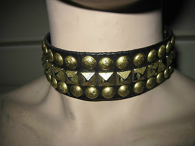 DISTRESSED STUDDED COLLAR LARP COSPLAY goth