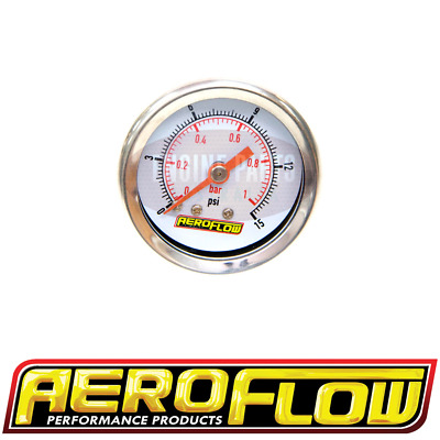 1-1/2Inch White Face Aeroflow Fuel Pressure Gauge 0 - 15 Psi Carby Holley Etc