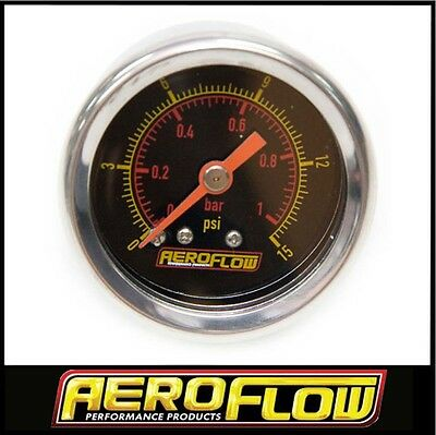1-1/2Inch Black Face Aeroflow Fuel Pressure Gauge 0 - 15 Psi Carby Holley Etc
