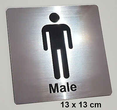 MALE TOILET / BATHROOM / CHANGEROOM SIGN - ENGRAVED TOILETS DOOR SIGN - silver