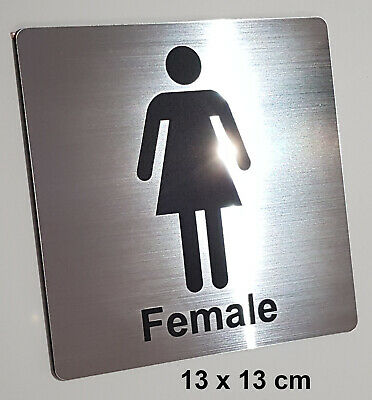 FEMALE TOILET / BATHROOM / CHANGEROOM SIGN - ENGRAVED TOILETS DOOR SIGN - silver