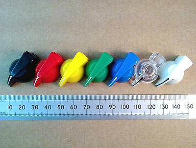 """Chicken Head Pointer Volume Control Knob for 6.3mm 0.25"""" Shaft, Various Colours."""