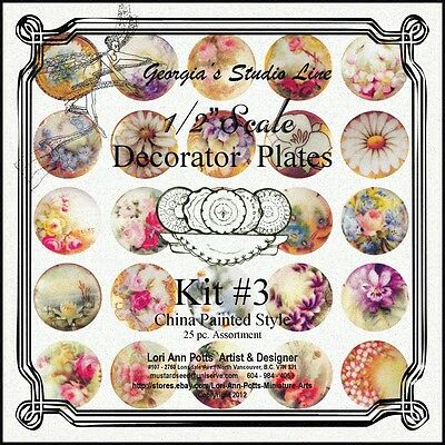 """1/2"""" Scale (Half  Scale)-25 pc-'China Painted' Plate Kit #3- by Lori Ann Potts"""