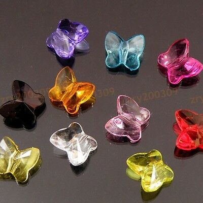 200Pcs Mixed Color Acrylic Butterfly Spacer Beads 10mm KC078