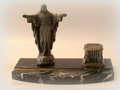 antique French marbel religious ink pot/stand chateau find art deco
