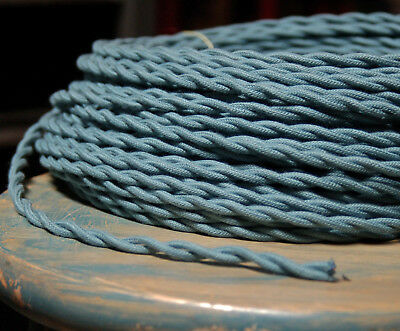 Slate Blue Twisted Cloth Covered Wire, Vintage Color Lamp Cord, Antique Lights