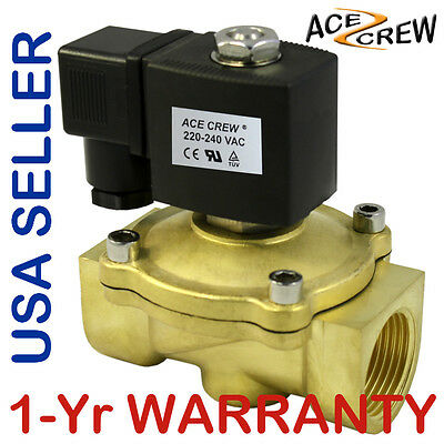 1 inch 220V-240V AC Brass Electric Solenoid Valve NPT Gas Water Air N/C