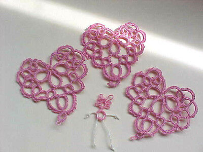3 Large Pink Tatted Hearts Dove Country Tatting Crazy Quilt Scrapbooking Cards