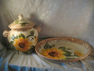 Sunny Table Tops Unlimited Hand Painted Cookie Jar & Large Platter