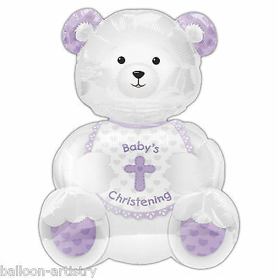 Baby's Christening Teddy Supershape Foil Balloon