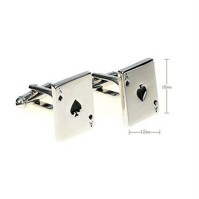 Silver Ace Spades Poker Card Men's Clothing Cufflinks Cuff Links Gift New