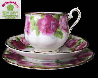 Royal Albert OLD ENGLISH ROSE Hampton Tea Cup Saucer & Sq Plate Eng 1st  c1935