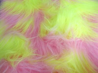 LONG Pile Fun Faux Fur Fabric Material FLO YELLOW & BLOSSOM MIX