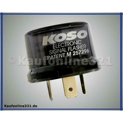 KOSO Blinkerrelais Digital, 12V, Stecker 3 Pins, inkl. Adapter, max. 15A Relais,