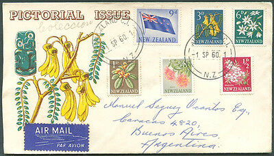 NEW ZEALAND - FLOWERS TO ARGENTINA Air Mail Cover VF