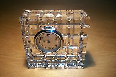 Waterford Cut Glass Crystal Desk Clock w/New Battery.