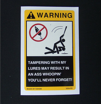 Warning Sticker for your Fishing Lures Tackle Box Vintage Antique Rapala EDIOM