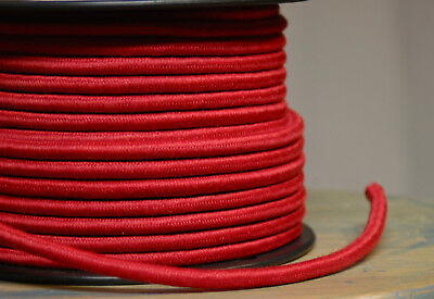 Red Cloth Covered 3-Wire Round Cord, 18ga. Vintage Lamps, Antique Lights, Cotton