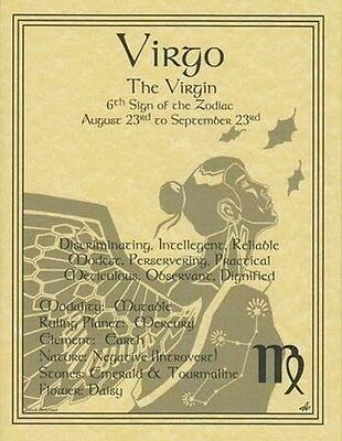VIRGO ZODIAC POSTER  Wicca Pagan Witch Witchcraft BOOK OF SHADOWS Astrology