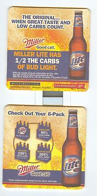 4 INCH MILLER LITE BEER COASTER .... 1/2 THE CARBS Of