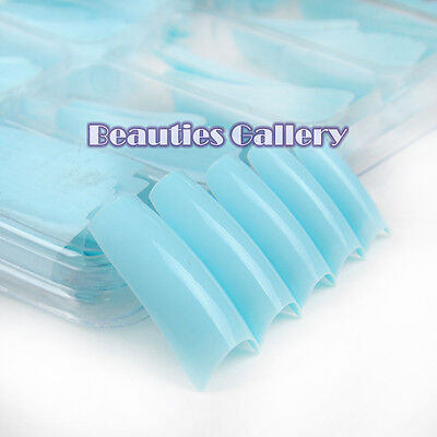 New 100 Baby Blue French False Acrylic UV Gel Nail Art Tips Set Box