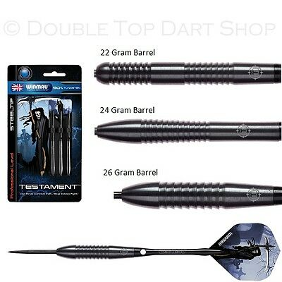 Winmau Testament 90% Tungsten Steel Tip Darts - Black PVD Barrels