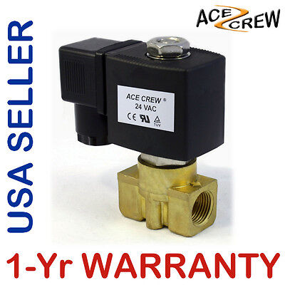 3/8 inch 24V AC Brass Electric Solenoid Valve NPT Gas Water Air Normally Closed