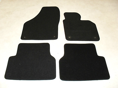 VW Tiguan 2007-2016 Fully Tailored Deluxe Car Mats in Black VW Round Fixings