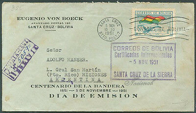 BOLIVIA - FLAGS TO ARGENTINA Registered Cover w/Seal 1951 VF