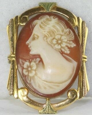 Vintage 1920's Gold Filled Art Deco Left Facing Cameo Pin