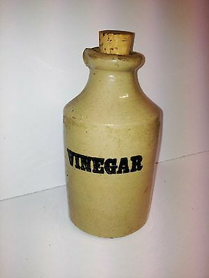 Genuine Antique Ceramic Vinegar Jar With Removable Cork. Great Collectable.
