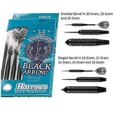 Harrows Black Arrow Black Ebonite Coated Brass Steel Tip Darts